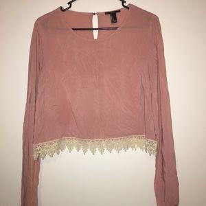 Blush lace crop top